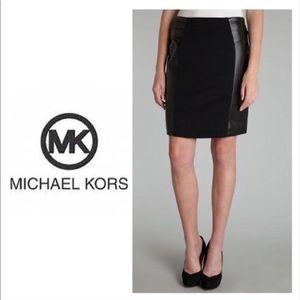 Michael Kors faux leather pane skirt